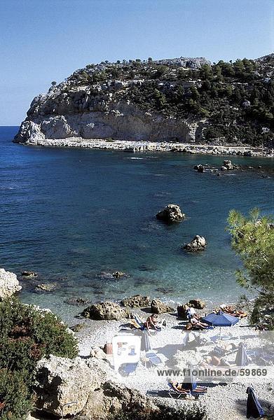 hoch oben Strand Tourist Ansicht Flachwinkelansicht Dodekanes Winkel Griechenland Rhodos
