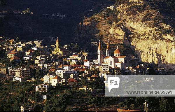 Luftbild von Stadt  Bscharre  North Gouvernement  Libanon