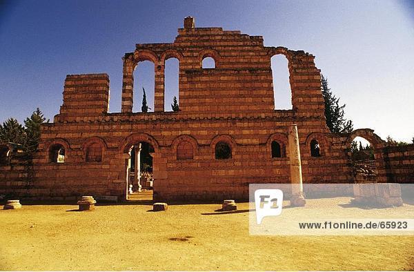 Fassade des römischen Ruinen  Anjar  Bekaa-Ebene im Libanon