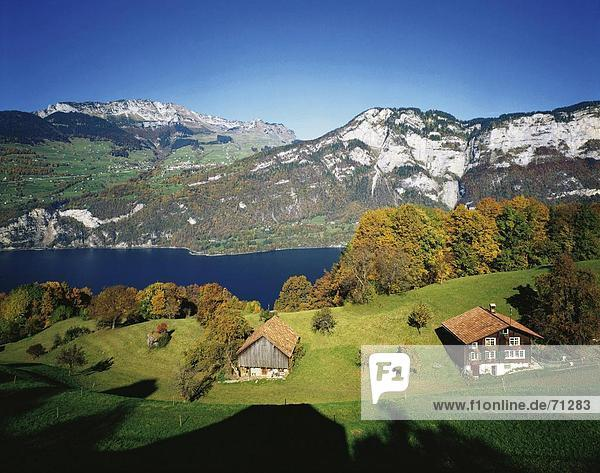 Landschaftlich schön landschaftlich reizvoll Europa Berg See Meer Scheune Herbst wohnen Amden Schweiz Walensee