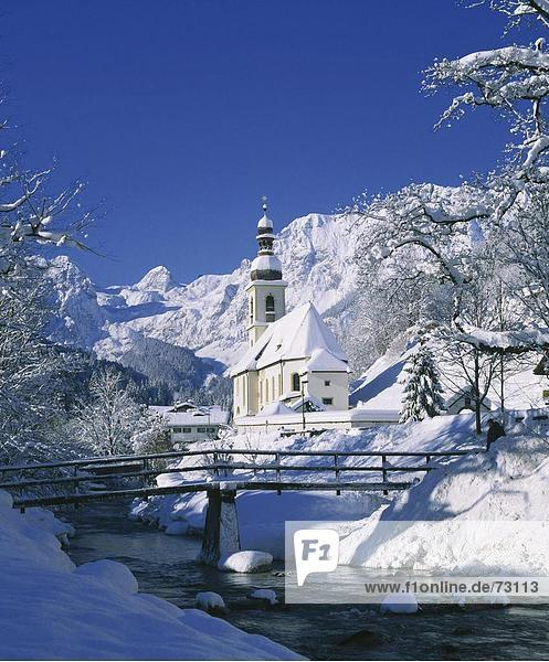 10454564  Creek  Bach  Berchtesgaden  Berge  Deutschland  Europa  Oberbayern  Kirche  Ramsau  Schnee  Winter