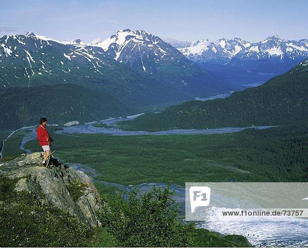 10545462  Alaska  Ansicht  Exit  Fjord  Nationalpark  River  Fluss  Frau  Gletscher  Kenai  Auferstehung Valley  Tal  zu Fuß