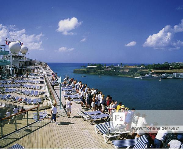 10639788  departure  arrival  coming  fort de France  fort Saint Louis  group  Martinique  passengers cruise  ship  solar deck