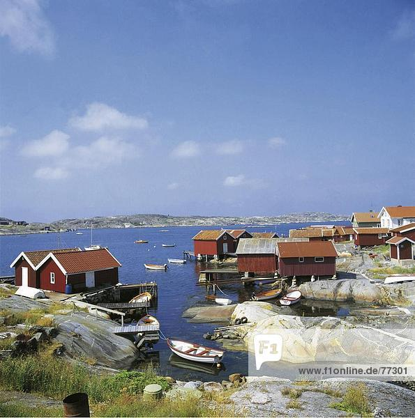 10648346  Bohuslan  boats  village  rock  cliff  body of water  huts  Karringo  coast  scenery  nature  Sweden  Europe  settle