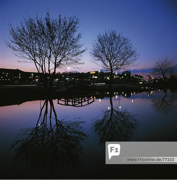 10648378  Bäume  Brücke  Cent Rum  Hochbau  Lights  Marsta  Nacht  in der Nacht  Park  Schweden  Europa  See  Meer  R