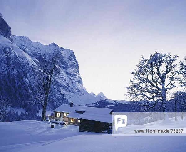Hütte Berg Wohnhaus Nacht Alpen Berner Oberland Kanton Bern Schnee bei Nacht