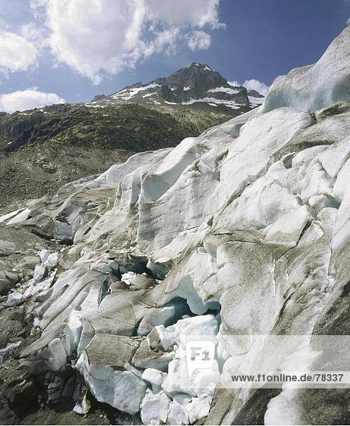 Europa Berg Alpen Gletscher Schweiz Kanton Wallis