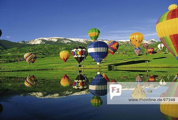 Ballons,Berge,Bergsee,Fesselballons,Heißluftballons