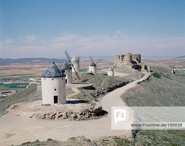 Travel. Spain. Cuenca. La Mancha windmills.