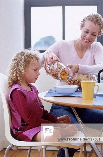 Mutter und Tochter beim Frühstück