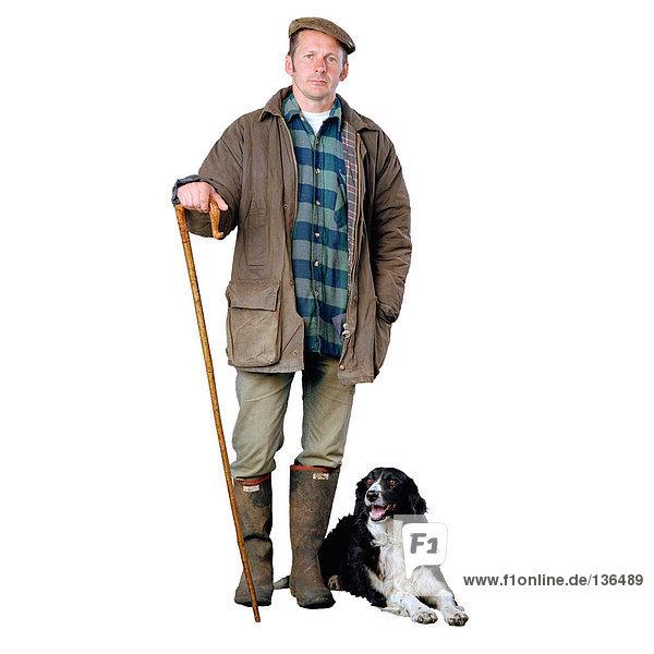 Schäfer mit Border Collie Hund Schäfer mit Border Collie Hund