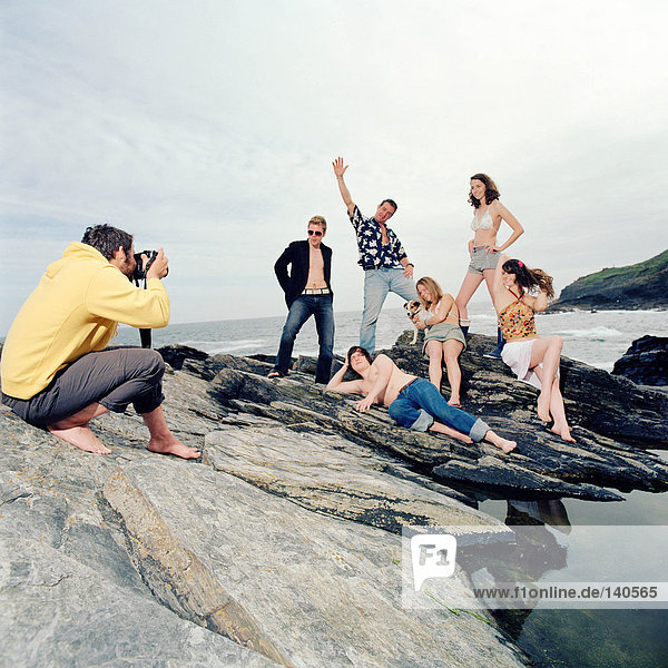 Posing for photographs