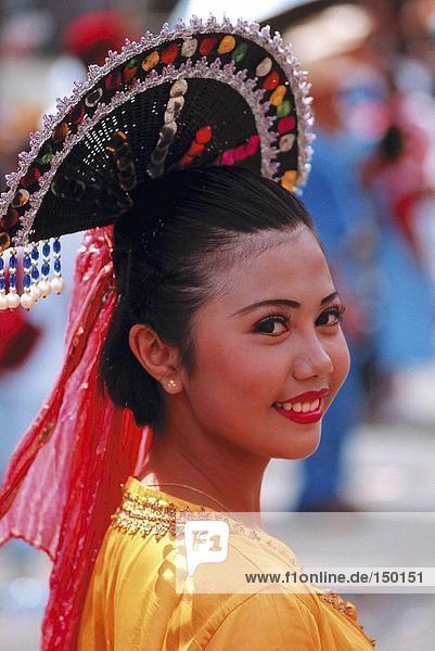Frau feiern in Sinulog Festival  Cebu  Philippinen