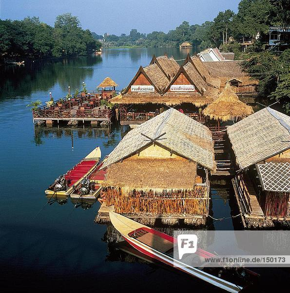 Floating restaurant hut in river  Kwai River  Kanchanaburi  Thailand