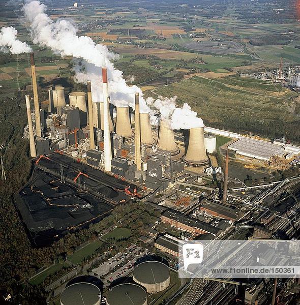 Kraftwerk, hoch, oben, Ansicht, Flachwinkelansicht, Winkel, Elektrizität, Strom, Gelsenkirchen, Deutschland