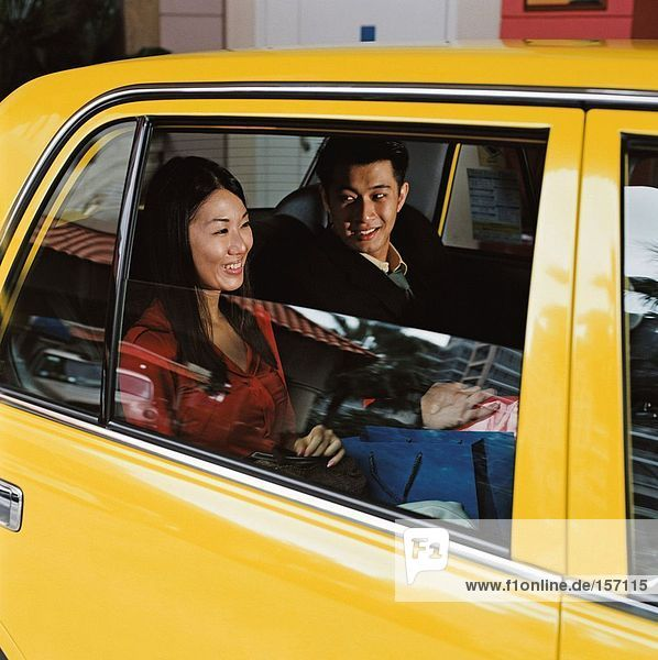 Couple in taxicab