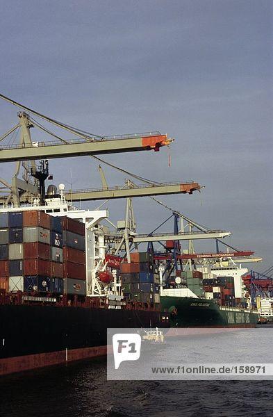 Krane und Container-Schiff an Port  Elbe River  Hamburg  Deutschland