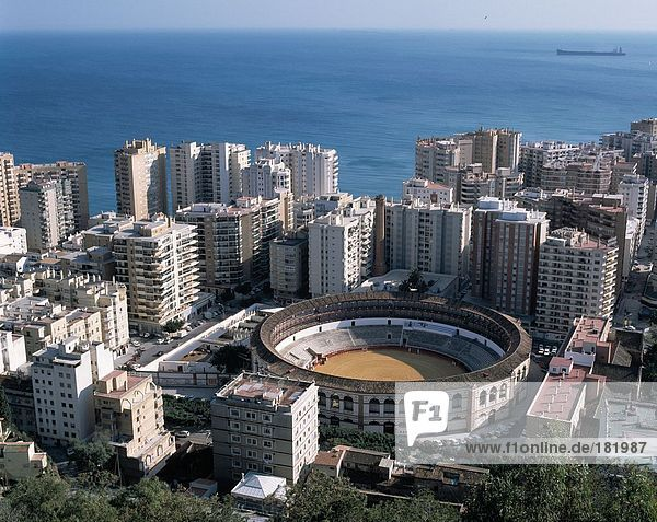Aerial view of bullfight arena in city  Andalusia  Spain