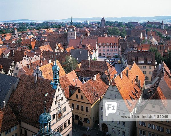 High angle view of houses in city  Saxony  Rothenberg  Germany