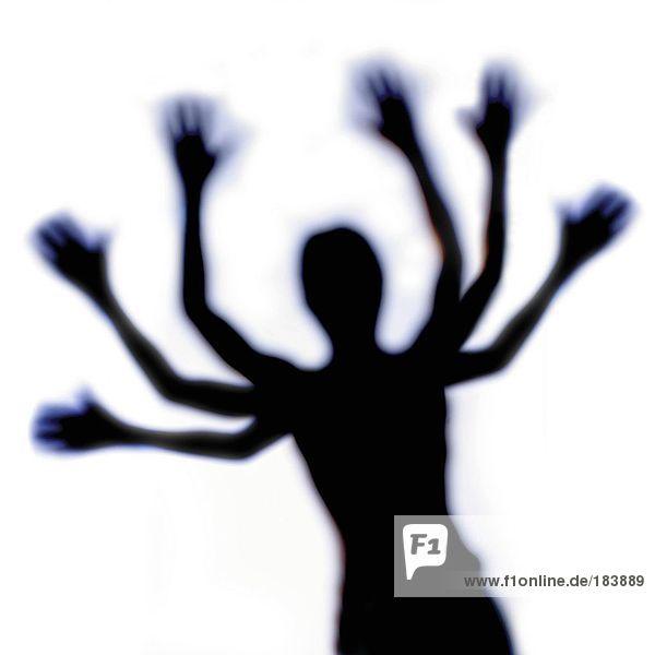 Silhouette der menschlichen Figur mit viele Arme