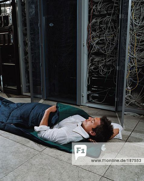 Man sleeping in office