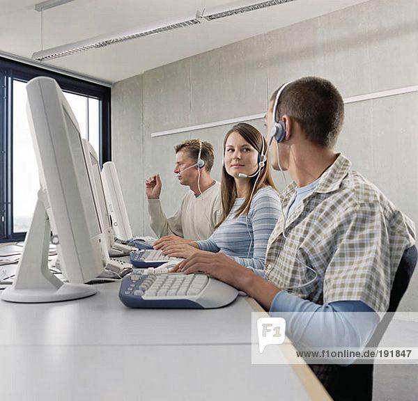 Three call centre operators