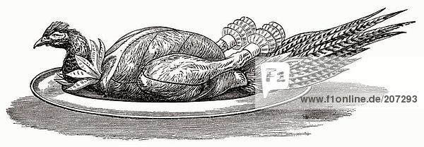 Fasan auf Silberplatte (Illustration)