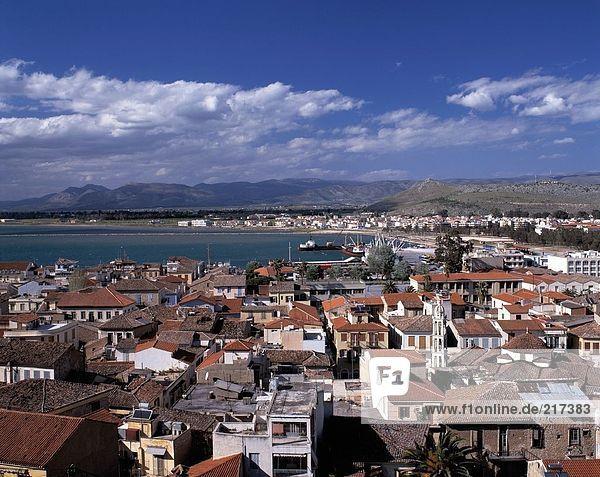 Aerial view of city at coast