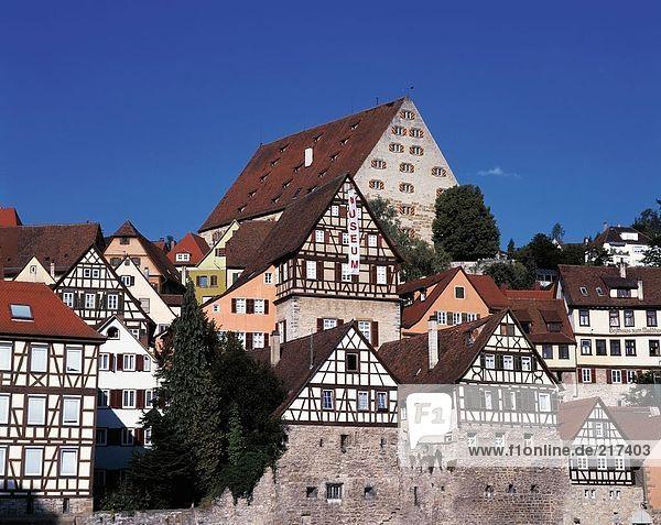 durchsichtig transparent transparente transparentes Himmel Gebäude Stadt blauer Himmel wolkenloser Himmel wolkenlos blau Baden-Württemberg Deutschland