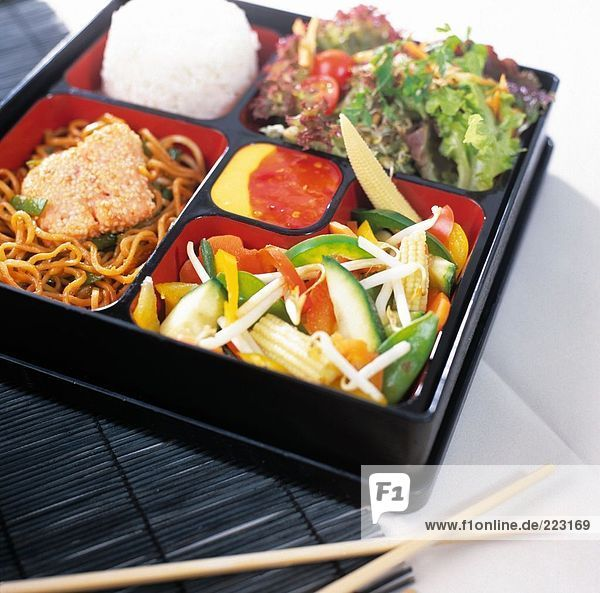 Close-up of Japanese lunch box