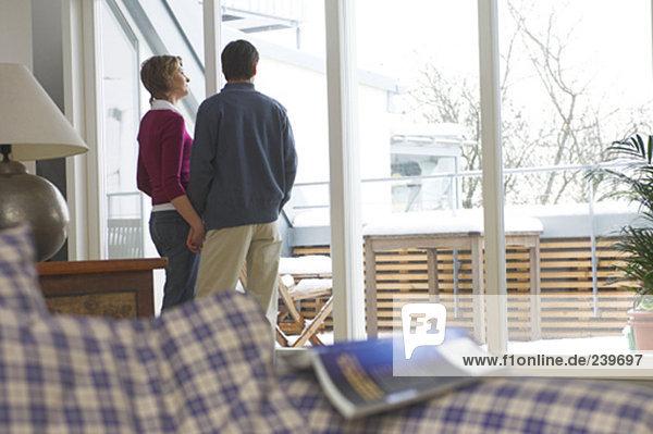 Interior  zu Hause  sehen  Schnee  Balkon  reifer Erwachsene  reife Erwachsene