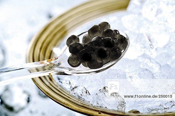 Kaviar auf Löffel  Nahaufnahme