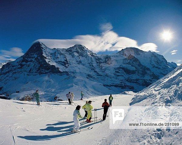 10007225  Bernese Oberland  Eiger  mountain  Kleine Scheidegg  monk  Monch  skiing  skier  winter  winter sports  sport  Switz