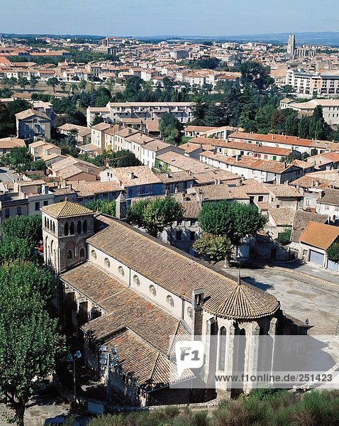 10209377  Carcassonne  roofs  France  Europe  cathedral  South of France  Europe  overview
