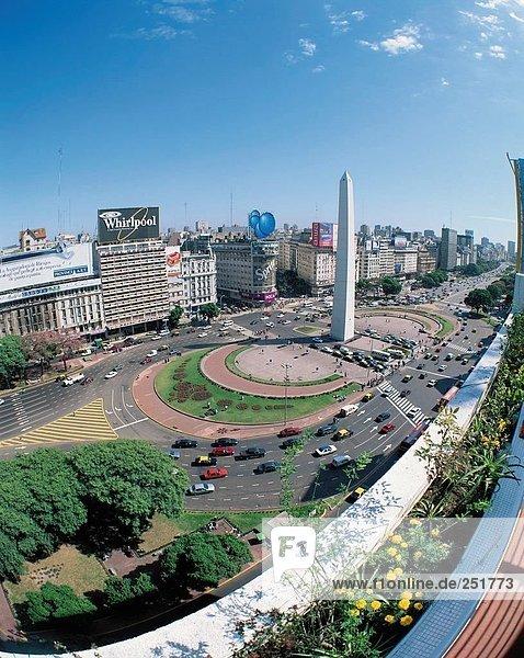 10407548  Argentinien  Südamerika  Avenue 9. Juli  Buenos Aires  Fisheye  Obelisk  Überblick