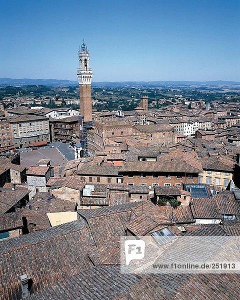 10509285  Campanile  Turm  Dach  Italien  Europa  Piazza del Campo  Siena  Siena  Übersicht