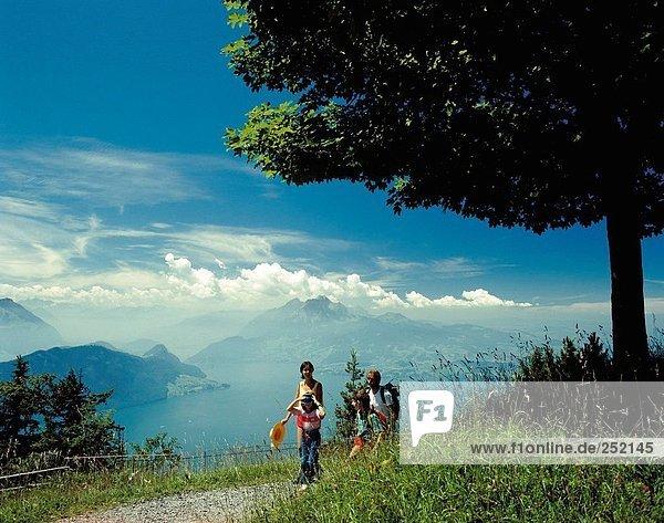 10016061  family  scenery  Rigi  Switzerland  Europe  Vierwaldstattersee  lake Lucerne  lake  sea  walking  hiking  central Sw