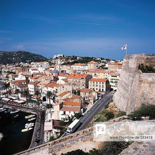 10276114  Blick  von der Festung  Calvi  Frankreich  Europa  Hafen  port  Korsika  Marina  Überblick