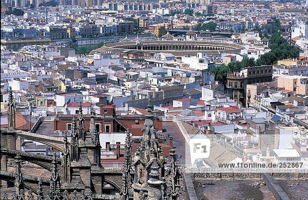 Luftbild von Stadtansicht  Sevilla  Sevilla Provinz  Andalusien  Spanien