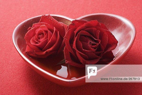 Rote Rosen in herzförmiger Schale