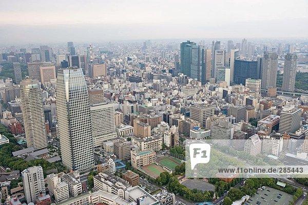 Luftbild von Stadt  Mori Tower  Präfektur Tokyo  Japan