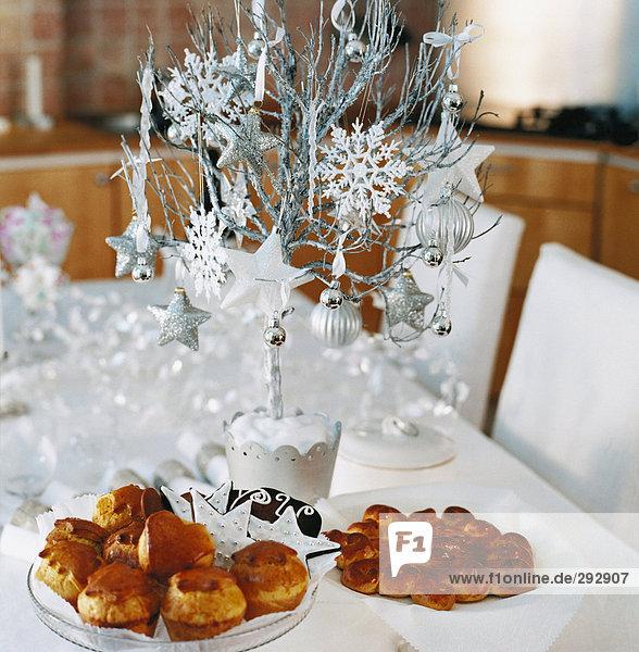 Brötchen Weihnachten Tisch