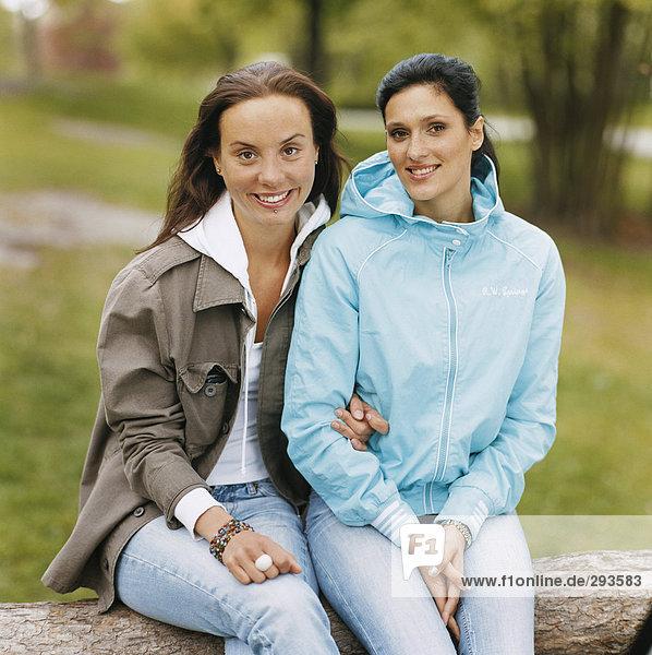 Portrait of two women.