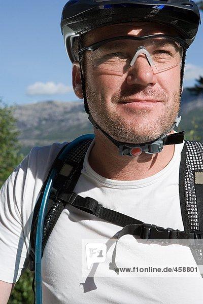 Male mountain biker