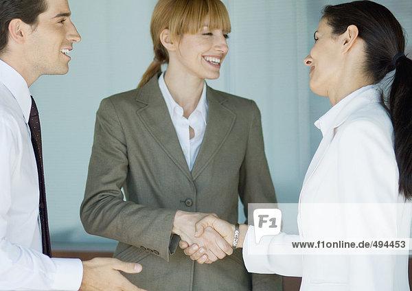 Geschäftsfrauen beim Händeschütteln