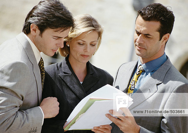 Two businessmen and a woman examining document