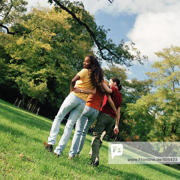 Drei junge Frauen  die auf Gras gehen  mit den Armen umeinander  Rückansicht  eine schaut über die Schulter.