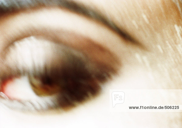 Woman's brown eye. Blurred close up.