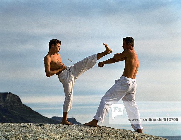 Zwei Männer  die Kampfsport treiben  einer verteidigt  einer greift an.