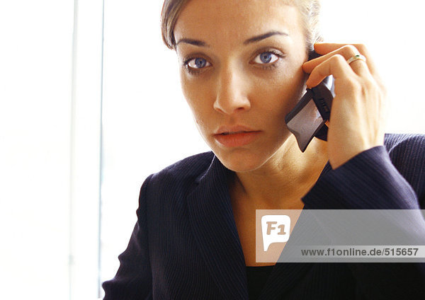 Businesswoman on cell phone  close up